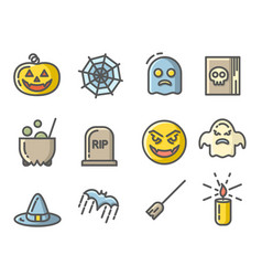 halloween colored icons set linear signs vector image