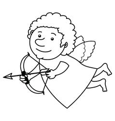 Flying cupid bw vector