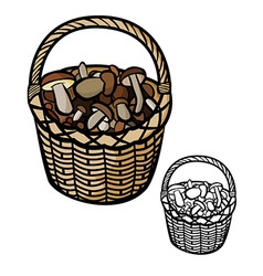 Mushrooms in basket vector
