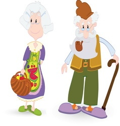 Grandfather and grandmother resize vector