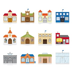Public building icons vector