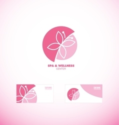 Spa wellness beauty butterfly logo icon vector