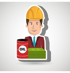 Man and oil isolated icon design vector