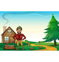 A lumberjack standing in front of the wooden vector image