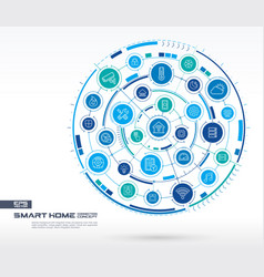 abstract smart home technology background digital vector image vector image
