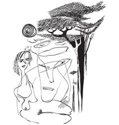 Art of line art - naked woman vector