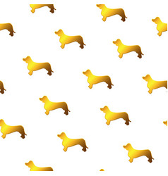 Awesome seamless pattern with gold yellow dog vector