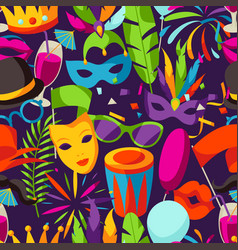 carnival party seamless pattern with celebration vector image vector image