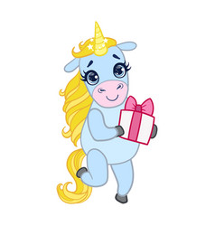 cartoon light blue unicorn standing with gift box vector image vector image
