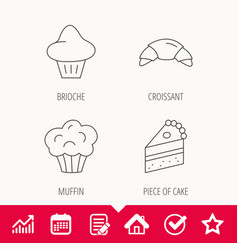 Croissant brioche and piece of cake icons vector
