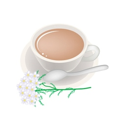 Cup of Tea with White Yarrow Blossoms vector image