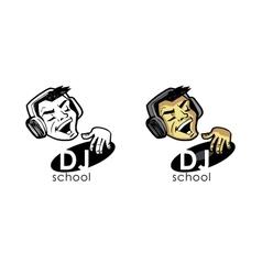 DJ in earphones plays on a vinyl record vector image