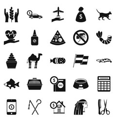 Egypt icons set simple style vector