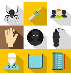 Fears and phobias icon set flat style vector