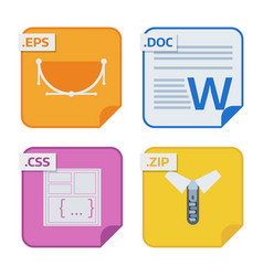 File types and formats labels icon presentation vector