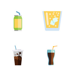 Flat icon soda set of carbonated fizzy drink vector