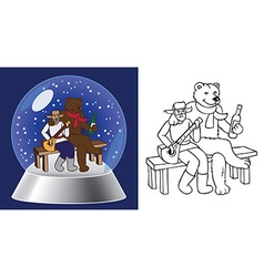 Glass bowl and bear russian man vector