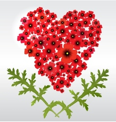 Heart of poppies vector image vector image
