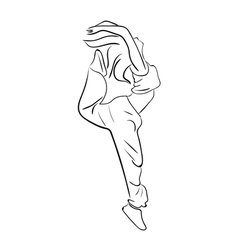 Hip-hop woman dancer contour vector image vector image