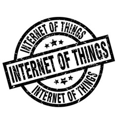 internet of things round grunge black stamp vector image