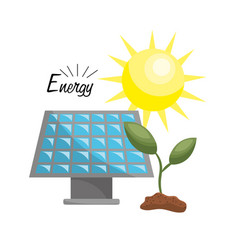 Leaves plant with solar energy to care environment vector