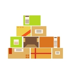 Paper box packages piled up in the warehouse vector