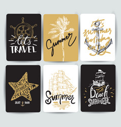 Set of hand drawn stickers of summer vector