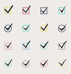 Set of nine different colors check marks vector image