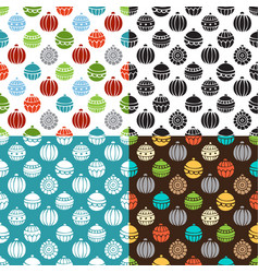 set of seamless pattern of christmas baubles vector image vector image