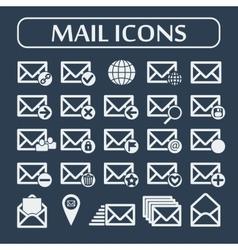 Set of twenty five flat mail icons vector image vector image