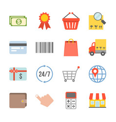 shopping and logistic icons set vector image
