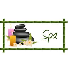 Spa salon banner with stones thai massage wood vector