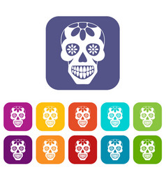 Sugar skull flowers on the skull icons set flat vector