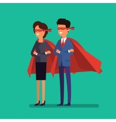 Super man and woman business concept vector