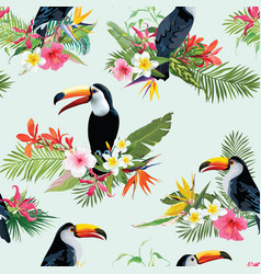 Tropical flowers and toucan seamless background vector