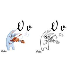 Violin alphabet letter v coloring page vector