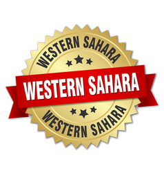 Western sahara round golden badge with red ribbon vector