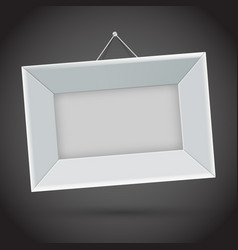 White photo frame on dark background vector