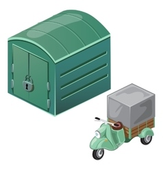 Green scooter with tent and closed garage vector