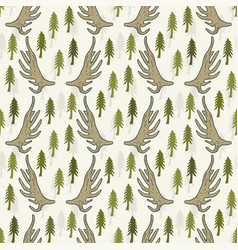 Seamless pattern with pine trees and horns hand vector
