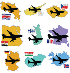 fly me to the Costa Rica Cyprus Czech Republic Egy vector image