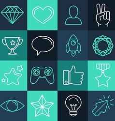 Set of line game icons vector