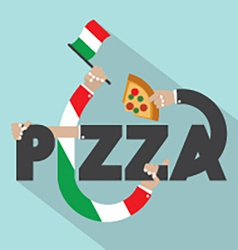 Pizza with hands typography design vector