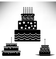 Set of silhouettes sweet cakes vector