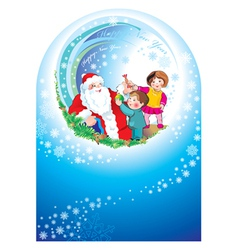 Santa happy children vector