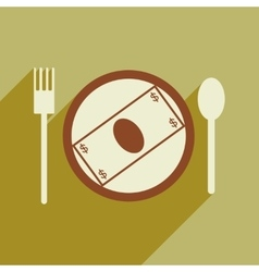 Modern flat icon with shadow bill on the plate vector