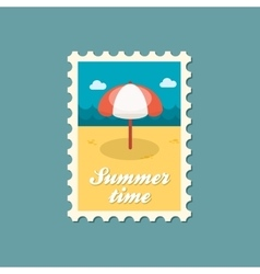 Beach parasol flat stamp summertime vector