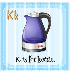 Flashcard letter K is for kettle vector image