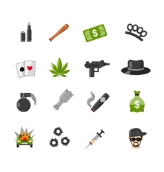 Flat isolated gangster icons vector