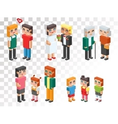 Isometric family couples love hearts vector